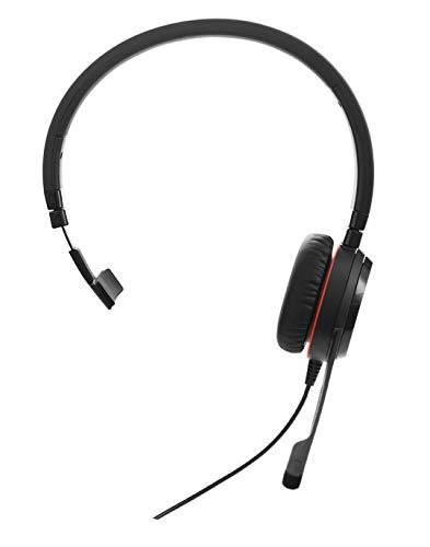 Jabra Evolve 30 II Mono UC kabelheadset USB en jack voor Unified Communications op pc/laptop of smartphones, voor oproepen en muziek, reistas incl.