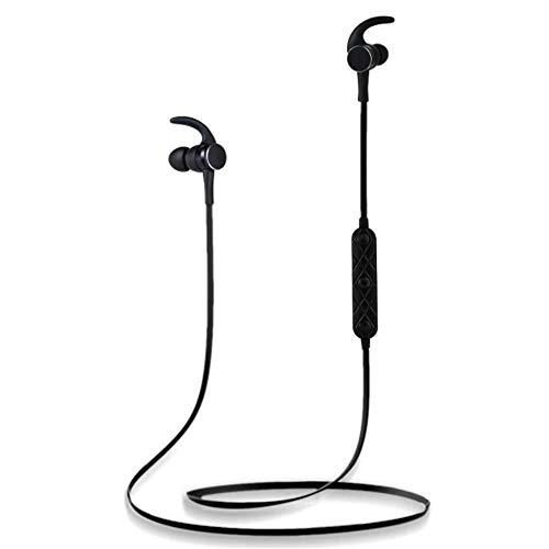 Casque Bluetooth sans Fil, Casque Bluetooth magnétique en métal, Casque stéréo étanche, Microphone intégré Haute sensibilité (Noir)