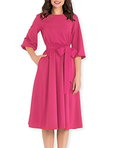 AOOKSMERY Women Elegance Audrey Hepburn Style Round Neck 3/4 Puff Sleeve Puffy Swing Midi Dress with Belt (Fuchsia, Large)
