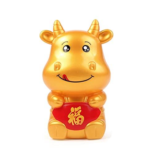 Easyeeasy Hucha, caja de almacenamiento de monedas, caja de almacenamiento con forma de vaca, cajas de ahorro de dinero, banco de vaca, regalo festivo, decoración del hogar