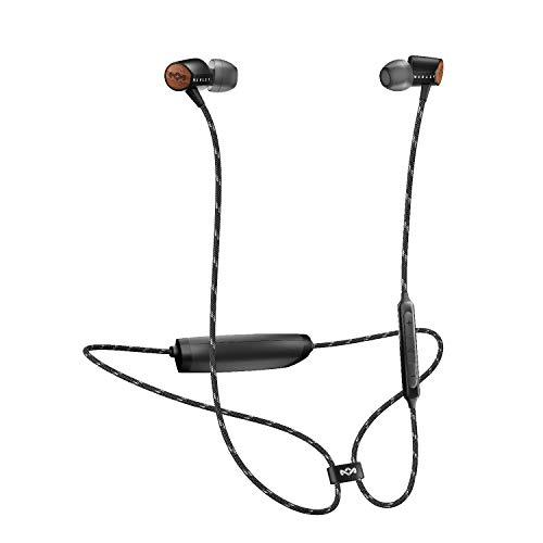 House of Marley Uplift 2 Bluetooth Wireless, Fino a 8 ore di riproduzione, Microfono con 3 pulsanti di controllo ideale per IOS e Android, Ultraleggeri, Nero
