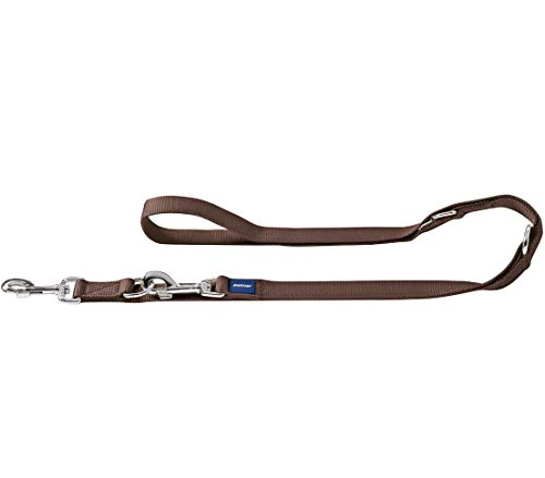 Dehner Premium Hunde-Führleine Saphir, L, ca. 200 x 2 cm, verstellbar, Nylon, braun