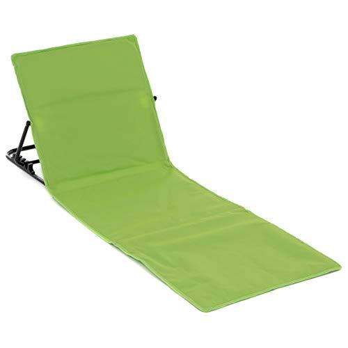 Nexos Strandmatte Grün 158x58 cm gepolstert faltbar verstellbare Rückenlehne praktischer Tragegurt Strandliege Beachmatte stabilem Stahlgestell