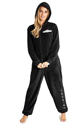 FRIENDS Jumpsuit Damen, Overall Pyjama Schlafanzug für Herren, Damen und Teenager, One Piece Hausanzug Kuschelig, Schwarz Overall für Winter (L, Schwarz)