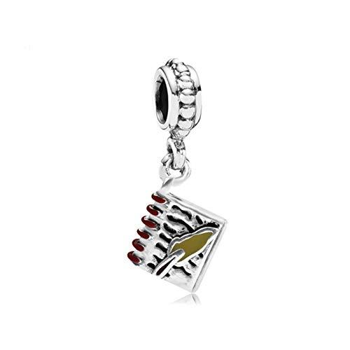 JINGGEGE Perlenlegierung Home Buch Musik Kaffee Apfel Anhänger Charme Passform Pan Armband Halskette DIY Frauen Schmuck Dropship (Color : Note Book)