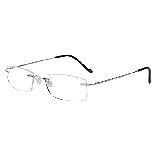 LianSan Titanium frameless Reading Glasses Men Lightweight Fashion Rimless Readers Glasses Womens 8085 (+3.00, silver) by LianSan