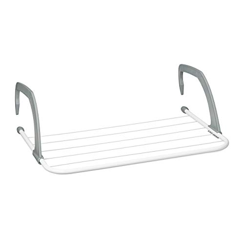 Relaxdays Clothes Drying Rack to Hang on Radiators or in the Balcony, Small, Clothesline, 3 m, White