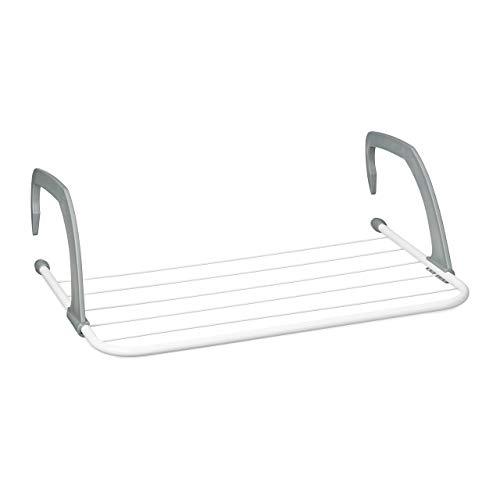 Relaxdays, weiß Hängetrockner, Wäschetrockner zum hängen für Heizkörper u. Balkon, klein, Wäschehalter, 50cms Trockenlänge