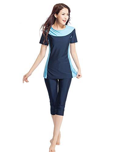 KXCFCYS Surfing Suit Short Sleeve Muslim Islamic Modesty Swimsuit Burkini Swimming Costume - Modest Swimwear for Women Ladies Girls Kids (N1, X-Small)