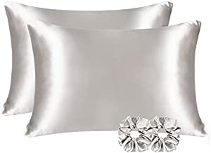 YANIBEST Satin Pillowcase for Hair and Skin Care Silk Pillowcase & Satin Scrunchies 2 Pack King Size Pillow Cases Set of 2 -Satin Cooling Pillow Covers with Hidden Zipper Floral Print