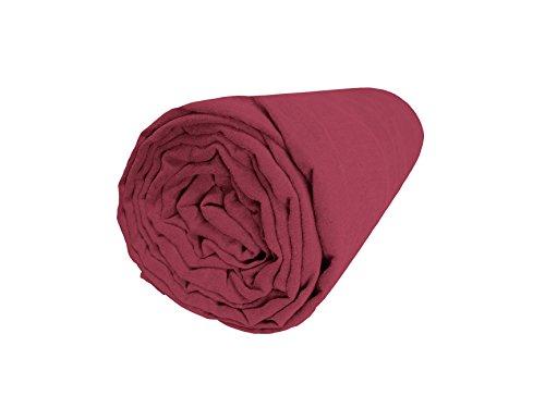 BLANC CERISE Drap Housse en Lin lavé véritable 90 * 200 - Bonnet 30cm