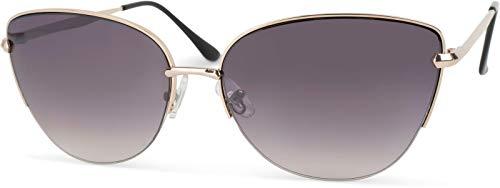 styleBREAKER occhiali da sole cat eye occhio di gatto, forma a farfalla, occhiali da pilota con cerniera flex, mezza montatura, da donna 09020066, col