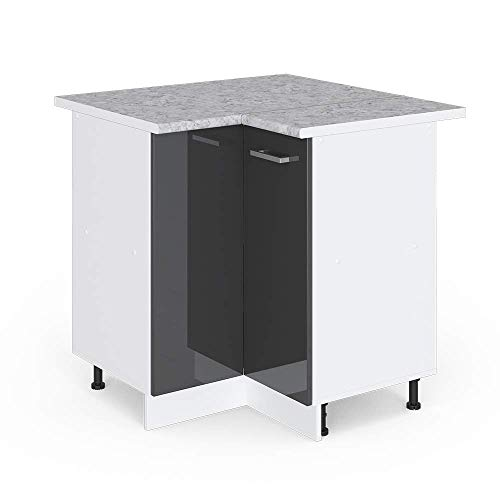 Vicco Küchenschrank Hängeschrank Unterschrank Küchenschränke Küchenunterschrank Arbeitsplatte, Möbel verfügbar in anthrazit und weiß (anthrazit mit Arbeitsplatte, Eckunterschrank 87 cm)