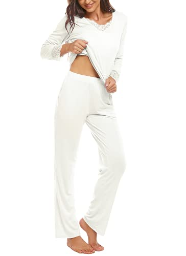 HOCOSIT Women's Long Sleeves Lace V Neck Sleepwear with Pants Pajama Set Soft Stretchy Pjs Lightweight Loungewear Top White
