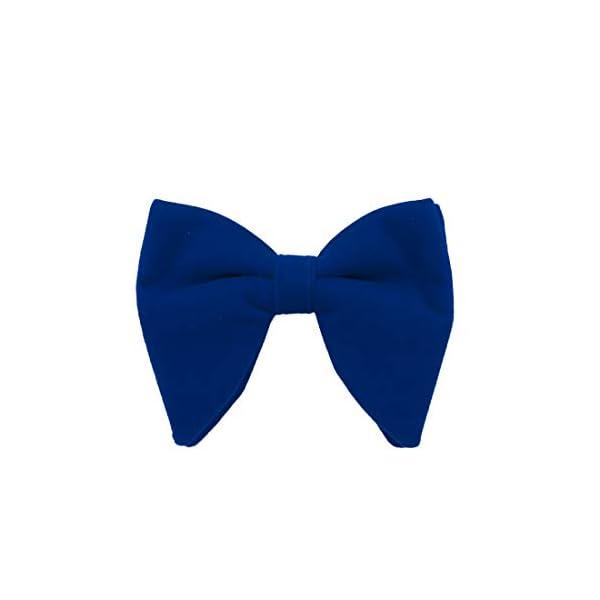 Dan Smith Mens Big Bow Ties Set Soild Velvet Oversize Pre-Tied Bow Tie Hanky Cuff Hankchief Cufflinks Lapel Pin