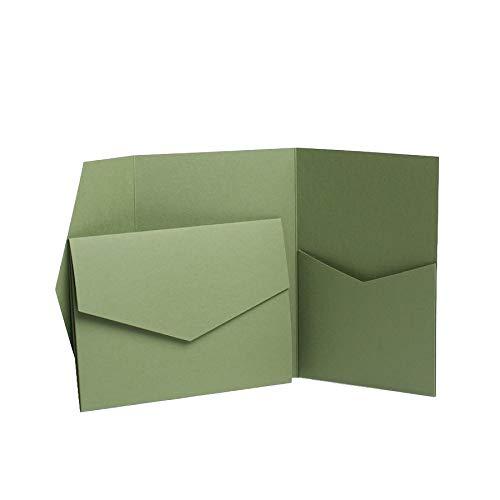 Pocketfold Invites LTD Einladungskarten, matt, 152 x 110 mm, Olivgrün