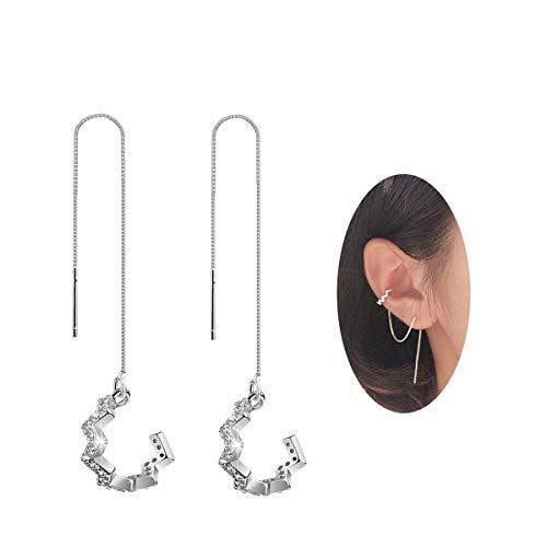 SLUYNZ 925 Sterling Silver Wave Cuff Earrings Wrap Tassel Earrings for Women Teen Girls Threader Earrings Chain(silver)