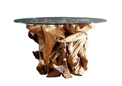 Wurzelholz Couchtisch Beistelltisch IKAL inklusive Glasplatte 80 cm | Tisch aus Wurzel fürs Wohnzimmer in Handarbeit gefertigt | Wurzelholztisch Massiv rund | Wurzeltisch von Möbel von ExotischerLeben