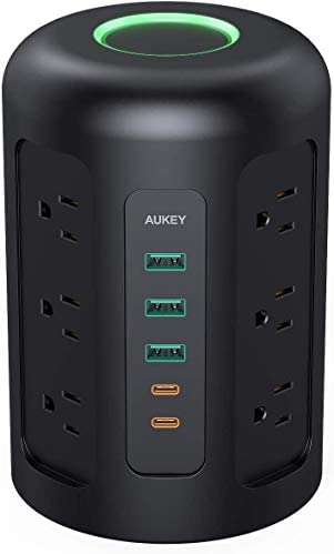 AUKEY Power Strip Tower Surge Protector with 2 USB C Ports 3 USB Ports 12 AC Outlets and 5ft product image