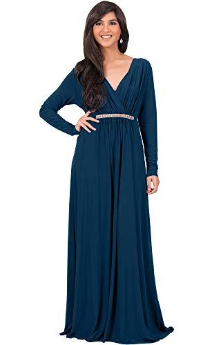 KOH KOH Sleeve Kaftan V-Neck Flowy Formal Winter Gowns