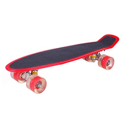 HAOCAI 22 inch Complete Cruiser Board Mini Cruiser Board Skateboards for Kids with Light-up High Rebound PU Wheels