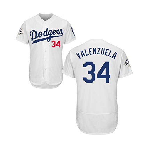 Dodgers Valenzuela # 34 Baseball Jersey Herren Baseball Kurzarm T-Shirt Button Top Stickerei Sweatshirt Atmungsaktives Real Jersey S-3XL-White-S