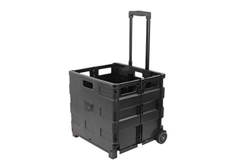 1PLUS XXL klappbarer Transport-Trolley Einkaufstrolley Klappbox Transportwagen Einkaufsroller, 100 x 38 x 42 cm (H x L x B), Volumen: 46 Liter, (Schwarz)