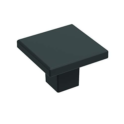 Basics Collection Knob 1-3/16 Inch Square Matte Black Finish (10-Pack)