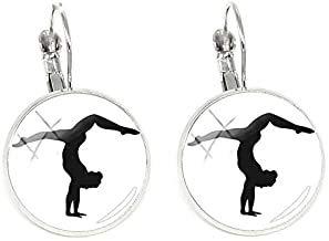 Orecchini a clip placcati in argento, per donne e amanti della ginnastica, stile vintage, gioielli etnici