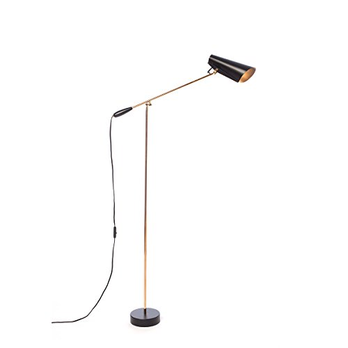 Northern Birdy floor - Lámpara de pie (aluminio/acero, 133 x 67 cm), color negro