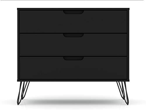 Manhattan Comfort Rockefeller Mid-Century Modern 3 Drawer Bedroom Dresser, 35.24', Black