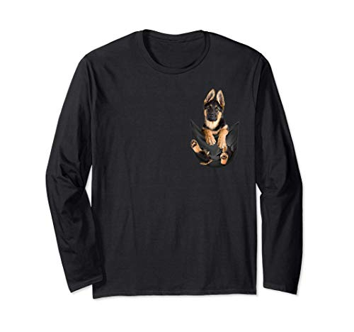 German Shepherd In Pocket Puppy Shirt - German Shepherd Dog Long Sleeve T-Shirt