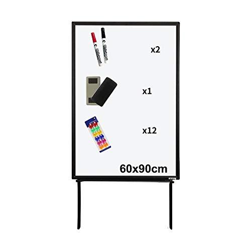Tableau Blanc Portable magnétique Conseil de démonstration réglable, Bureau d'aide enseignement d'écriture permanent Chevalet stand-2 effaçables Stylos, 1 Gommes Tableau noir et 12 boutons magnétiques