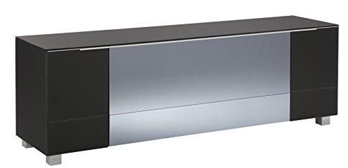 MAJA Möbel Soundconcept Lowboard, Glas, Schwarzglas Matt - Infrarotspiegel Grau, 180,30 x 42,00 x 60,00 cm