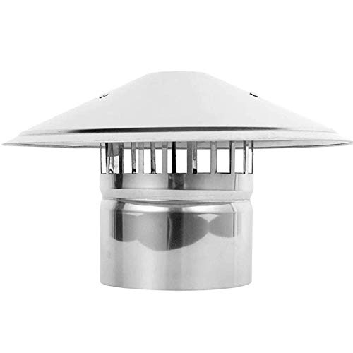 Jonist Stainless Steel Chimney Cowl Waterproof Round Air Vent Cowl Cap Rain Cover Protector Cap Ending 75-200Mm Suitable for Home, Villa, Bathroom,180mm