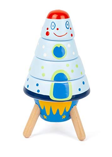 """small foot 11450 Stapelrakete """"Space"""" aus Holz, eine Spielzeugrakete und Motorikspielzeug in einem, 5-teilig, ab 1 Jahr"""
