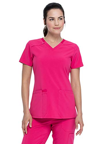 Dickies EDS Essentials Women's V-Neck Solid Scrub Top (Hot Pink, 4X-Large)