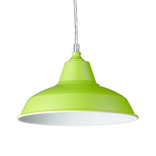 Relaxdays Lampadario, Lampada a Sospensione, Design Industriale, Interno Bianco E27, Verde, 112 x 28 x 28 cm
