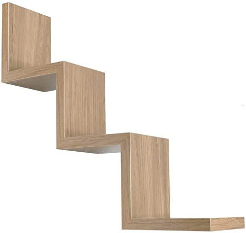 Kasahome Estantería de pared con forma de zig zag de madera de densidad media, con diseño moderno, color nogal, 3 estantes, fijación a la pared oculta, kit incluido 59 x 12 cm