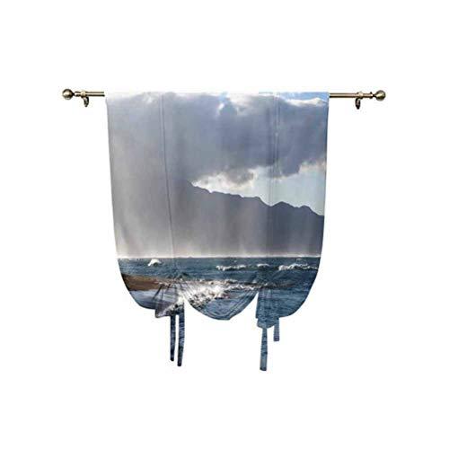 Albert Lindsay Backdrop Mystic House Decor - Cortina romana, diseño de playa y nubes de Baldwin, cortina opaca con aislamiento térmico, 95 x 107 cm, para ventanas del hogar, color gris y azul marino