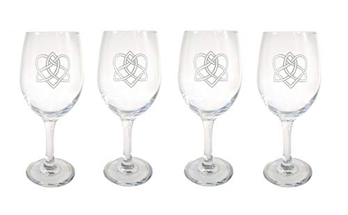 Celtic Love Knot Clear Wine Glass Set of Four - Free Personalized Engraving