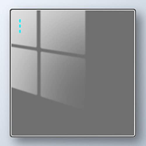 Crayom Interruptor De Panel De Vidrio Templado Nórdico 86 1-4 Gang Luz De Pared De Fluorescencia De 2 Vías 10A 250V 86 Interruptor Tipo Interruptor De Panel De Metal