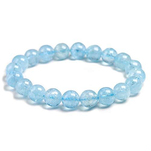 LXMYLI Pulsera De Cuentas De Piedra Aguamarina De Hielo Azul Natural para Mujeres Y Hombres, Cuentas Redondas Transparentes De Cristal, Regalo De Cumpleaños De Piedra