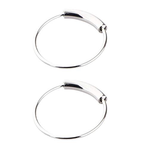 Non-brand Conjunto de 2 Elegantes Pendientes de Nariz Punk Safety Pin Pendientes de Joyería - 10 mm de Plata
