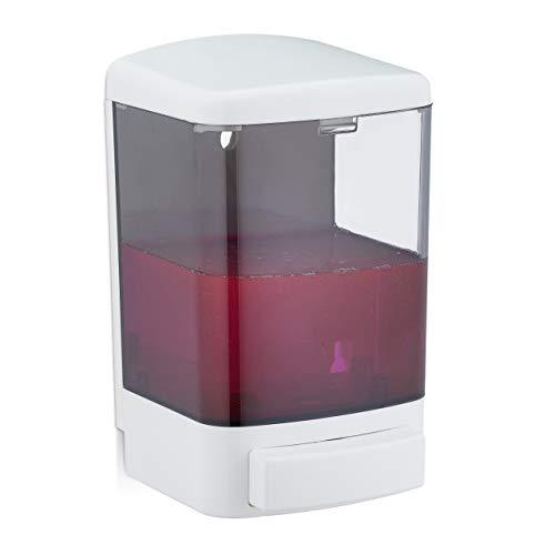 Relaxdays Dispenser di Sapone a Parete, 1000 ml, Ricaricabile, Dosatore per Bagno & Cucina, Salvaspazio, Bianco-Nero, ABS, PS, 1 pz