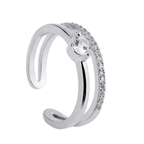 #N/D Exquisita línea doble anillo de circón con diamantes de imitación incrustados para las mujeres chapado en color fiesta anillos señora moda joyería caliente
