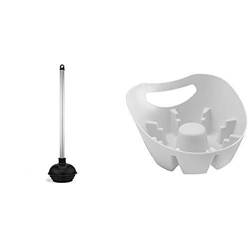 Neiko 60166A Toilet Plunger with Patented All-Angle Design | Heavy Duty | Aluminum Handle & MAXClean Universal Plunger Holder Drip Tray