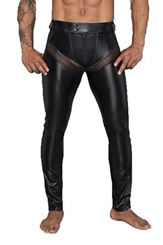 Noir Handmade Herren Wetlook-Longpants schwarz mit Einsätzen und Taschen aus Netzmaterial Lange Männer Gogo und fetisch Hose S