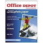 Office Depot(R) Premium Photo Paper, Glossy, 69 Lb., 100 Brightness, 8 1/2in. x 11in., Pack Of 25 Sheets