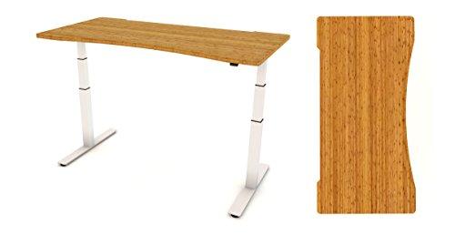 Escritorio electrónico parte superior y marco AGILE 1.2, varios acabados y tamaños (marco blanco), de FurniPlus, bambú, Ergonomic Bamboo, Medium Ergo (1400 x 800)